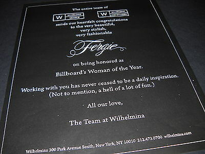 FERGIE Billboard's Woman Of The Year 2010 PROMO DISPLAY AD mint condition