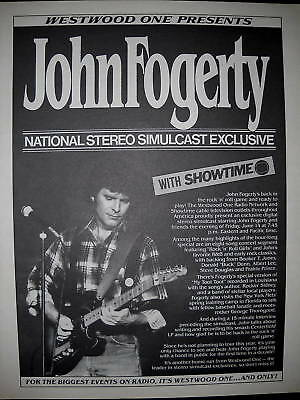 Westwood One presents JOHN FOGERTY 1985 PROMO POSTER AD
