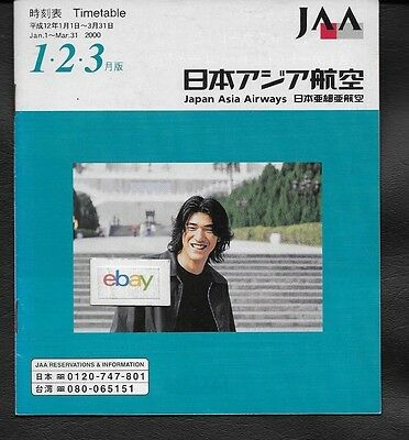 Jaa Japan Asia Airways System Timetable  1-1-2000 747-767-Dc10 Japan Taipei