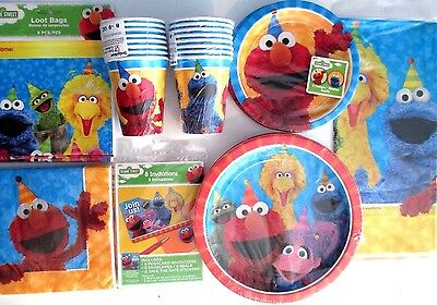 Sesame Street Elmo & Friends Birthday Party Supply SUPER Kit w/Invites & Bags!