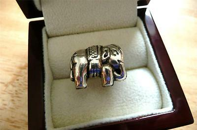 925 Sterling Silver Elephant Design Ethnic Ring Sz S Us 9.5