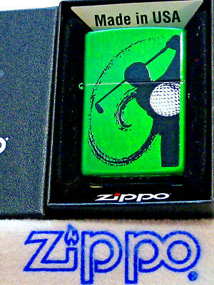 ZIPPO  SPORTS Lighter  GOLF SWING WITH BALL Mint in Box NEW Green