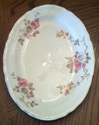 KNOWLES pottery PLATTER Pink Wild Country Rose Floral VINTAGE COTTAGE TABLESCAPE