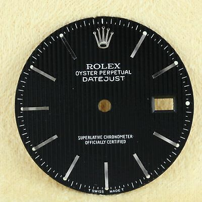 Real Rolex Datejust Tapestry Black w/ Stick Dial Only for 36mm Mens 16014 Watch