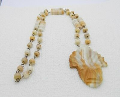 VTG Hand Carved Mexican Brown / White Marble Onyx Aztec Stone Necklace & Pendant