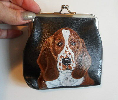 Basset Hound dog Hand Painted Leather Coin Purse Mini wallet