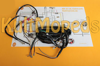 Cable Loom Set Circuit Diagram Electric Pas for SIMSON KR51 Schwalbe Star