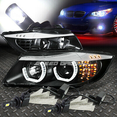 Black Halo Projector Headlight+Corner+6000K White Led System For 06-08 Bmw E90