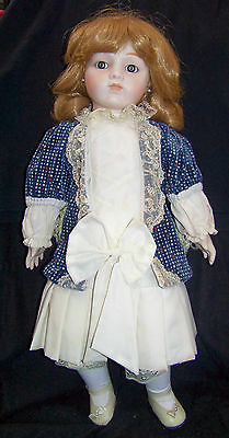 """""""AMANDA"""" Bisque 20"""" Doll by Willitts Blue&Ivory Outfit 1980s Vintage plays music"""