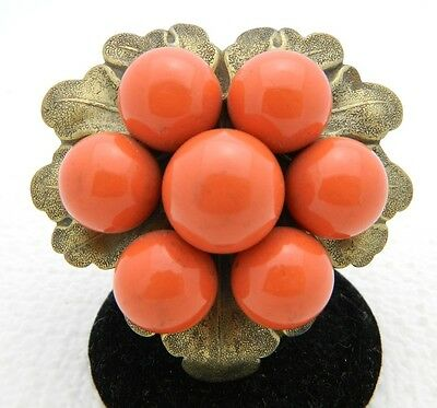 Antique Victorian Gold Pot Metal Grape Faux Carnelian Fur Scarf Dress Clip