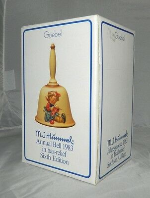 """Vintage In Box 6th Edition 1983 GOEBEL MJ HUMMEL Annual Bell """"Knit One"""" #705"""