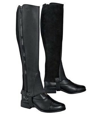 """Ariat Kids Unisex Scout Chap Leather Half Chaps ST Small Tall Black 13"""""""