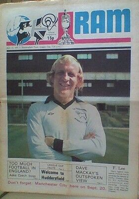 DERBY COUNTY v HUDDERSFIELD TOWN 75-76 LEAGUE CUP MATCH THE RAM NEWSPAPER