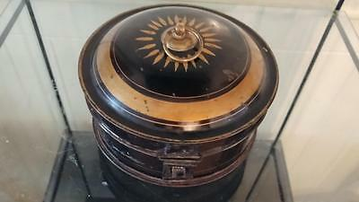 Georgian Black Japanned & Gilded Toleware Spice Box with Central Nutmeg Grater