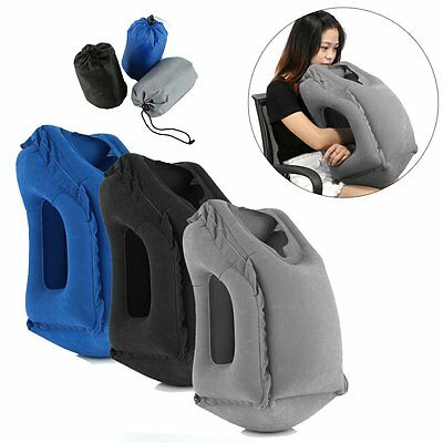 Inflatable Air Travel Pillow Airplane Neck Head Chin Cushion Office Nap Pillow