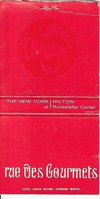 rue des Gourmets The New York Hilton Rockefeller Center NYC Old Matchcover