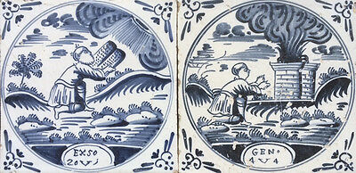 Antique 2 X Dutch Delft Tile Biblical Scene + Text 18TH C.