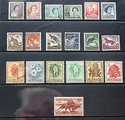 Australia 1959-64 Complete Set Of 19 QEII Definitive Stamps To 5/- MLH & FU