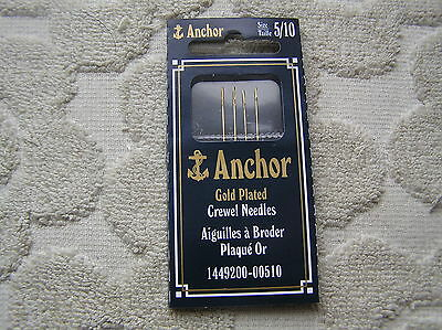 Anchor Gold-Plated Crewel Embroidery Needles-Size 5/10