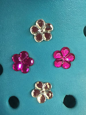 4 Diamond & Fuschia Gem Flower Shoe Charms For Crocs & Jibbitz Bands Free UK P&P