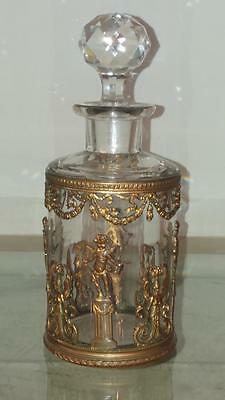 Fine Antique French Crystal Perfume Bottle Gilt Metal Putti & Angel Decoration