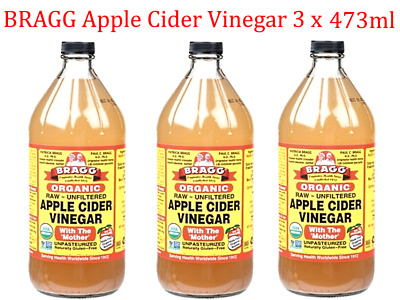 3 x 473ml BRAGG Organic Raw Unfiltered APPLE CIDER VINEGAR  with the ' Mother '