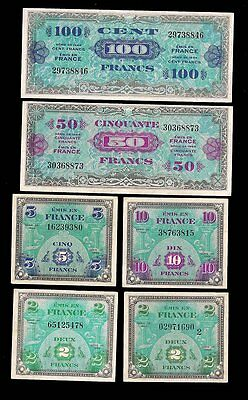 France - 2,5,10,50,100 Francs 1944 - Military Currency