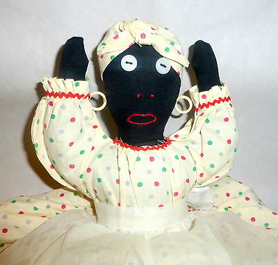 "Vintage 1940 Hand Made Cloth 15"" Black Jemima Doll Toaster Cover"