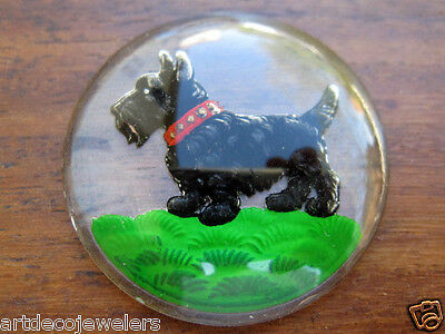 Vintage HAND PAINTED SCOTTIE TERRIER DOG REVERSE INTAGLIO CRYSTAL CAB finding