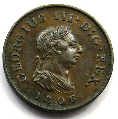 1806 George III Farthing Coin Great Condition