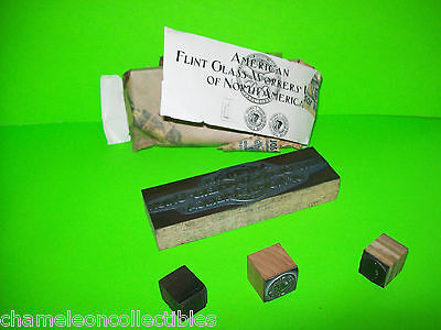 Set Of 4 Plate Print Block Ink Stamps American Flint Glass Workers Atlantic City