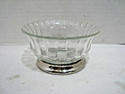 KIG & Firna Indonesia Pressed Glass Nut Custard Bowl with Silver Plated Base