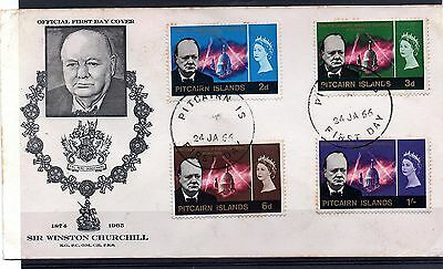 Pitcairn Islands (1229) 1966  Churchill Comm  First Day Cover with used set