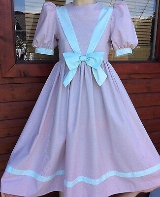 Vintage Laura Ashley Lilac Pink Polka Dot Bow Girls Tea Dress Age 11-12 Years