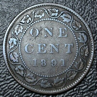 OLD CANADIAN COIN 1891 SDSL - ONE CENT - LARGE CENT - Victoria - SMALL DATE