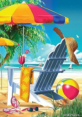 #140A Lazy Beach Days Summer Shore Cocktails Large House Flag 28X40 Banner