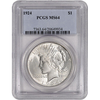 1924 US Peace Silver Dollar $1 - PCGS MS64