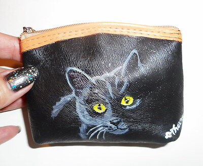 Bombay Black Cat Chat Noir Hand Painted Leather Coin Purse Vegan