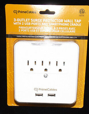 3 Outlet Wall Mount Surge Protector w/ Phone Holder & Dual USB Charging Ports