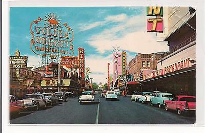 Fremont Street from Second, Las Vegas ! Great Signage & 1950's Cars !