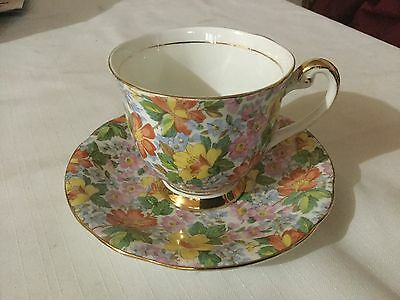Windsor Bone China  Cup And Saucer England     Chintz