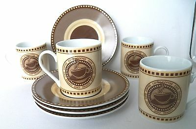 Stokes Gourmet Set Of 4 Cappuccino Cups & Saucers Made In R.p.c. Excellent Cond.