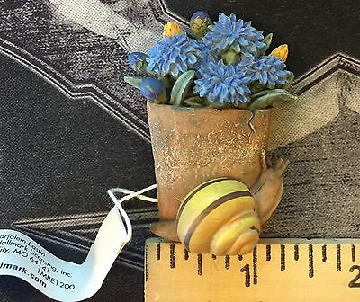 Hallmark Marjolein Bastin Blue Flower Pot with Snail Magnet Nature's Sketchbook