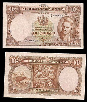 NEW ZEALAND - 10 SHILLINGS 1940-67 - P# 158a - C.V. $80