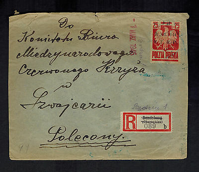 1945 Bendsburg Poland Censored Cover to Red Cross Switzerland