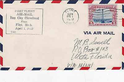 United States 1929 First Flight Air Mail Flint to Bay City FDC used VGC D
