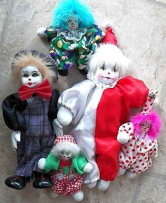 Decorative Collectibles Group Of 5 Clown Figurines Different Sizes And Faces