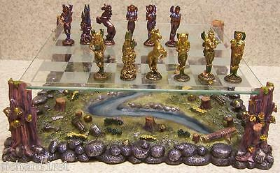 Chess Set with Glass Board Pewter Mystical Fairies NEW