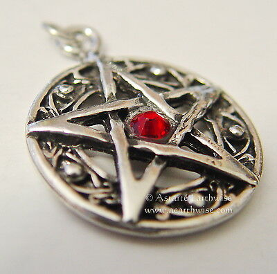 PROTECTED LIFE *RED PENTAGRAM AMULET Wicca Pagan Witch Goth PROTECTION
