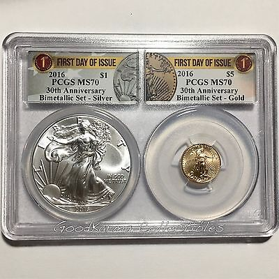 2016 MS 70 American Gold Silver Eagle BiMetallic Set, 1st Day of Issue 30th Ann